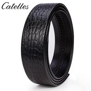 Image 3 - Catelles لا مشبك 3.5 سنتيمتر واسعة حقيقية حزام جلد طبيعي دون التلقائي مشبك حزام الذكور مصمم أحزمة حزام جلد الرجال 6045