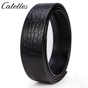 Image 3 - Catelles No Buckle 3.5cm Wide Real Genuine Leather Belt Without Automatic Buckle Strap Male Designer Belts Leather Belt Men 6045