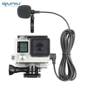 Image 1 - QIUNIU חיצוני מיקרופון מיקרופון + שקוף שלד שיכון מקרה עבור GoPro Hero 4 3 + 3 פעולה מצלמה עבור ללכת פרו אבזרים