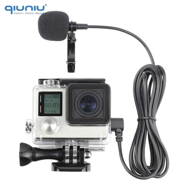 QIUNIU חיצוני מיקרופון מיקרופון + שקוף שלד שיכון מקרה עבור GoPro Hero 4 3 + 3 פעולה מצלמה עבור ללכת פרו אבזרים
