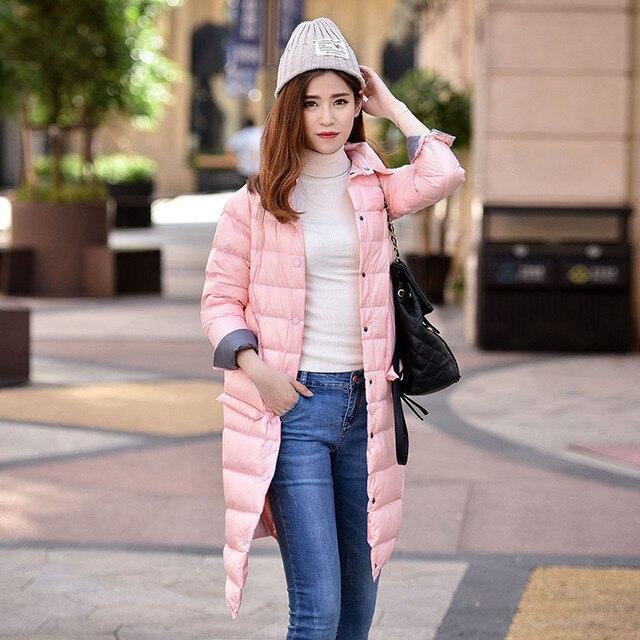 Autumn Women's Lightweight Single Breasted Down Jackets Shirt Collar Slim Long Down Coats female Outerwear YR16