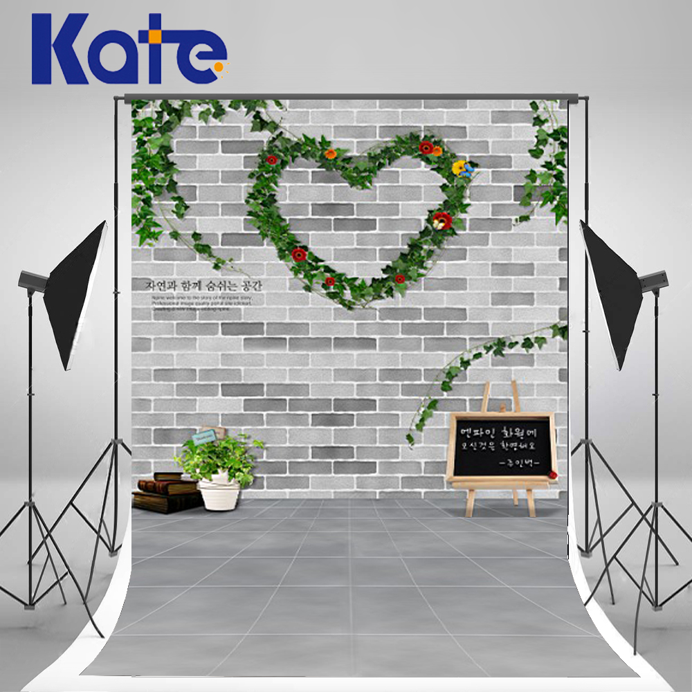 5x7ft Kate Background Fundo Heart Brick Wall Photo Backdrop Wreath Backgrounds Valentine'S Day for Children Backdrops new arrival background fundo heart wooden benches 7 feet length with 5 feet width backgrounds lk 2846 valentine s day