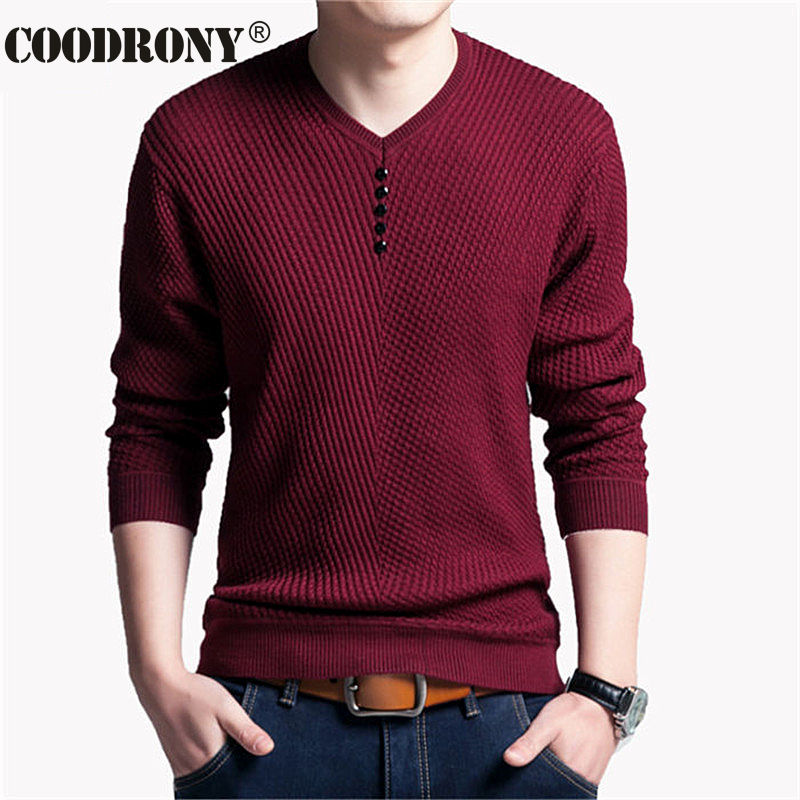 COODRONY Sweater Men Casual V-Neck Pullover Men Autumn Slim Fit Long Sleeve Shirt Mens Sweaters Knitted Cashmere Wool Pull Homme 1