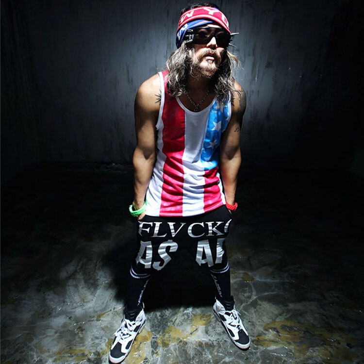 Tank Tops Men 2016 Cool Gym Shark Tshirt Casual Singlet National flag Vest Striped Slim Fit Gym Sport Sleeveless Hip Hop Clothes (2)