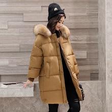 Novas parkas inverno loose women fit médio-longo jaqueta com capuz de espessura de neve quente rosa casaco MM de Gordura tamanho grande para baixo Casaco