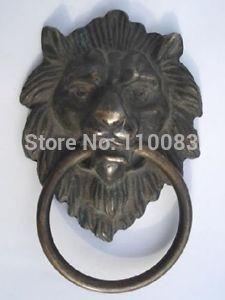 Vintage Handwork Teapot For Chinese Oriental Chinese BRASS Fierce Lion Head Door Knocker 4.4High Antique Metal Wholesale