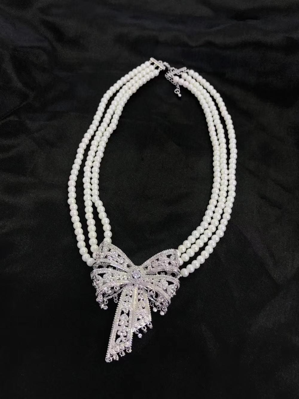 wholesale 3rows freshwater pearl white near round &butterfly clasp neklace 17-19inch FPPJ butterfly clasp