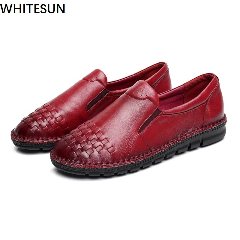 WHITESUN Ladies Shoes national style flats women's genuine leather shoes sewing design Handmade flat shoes for women big size hot sale mens italian style flat shoes genuine leather handmade men casual flats top quality oxford shoes men leather shoes