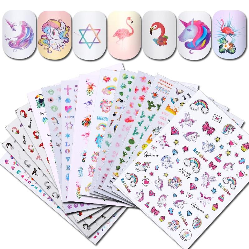 все цены на 1 Sheet Flamingo Unicorn Series Toucan Nail Sticker Tropical Flower Bird DIY Nail Art Adhesive Transfer Sticker онлайн