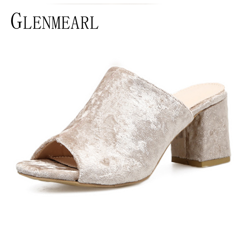Women Slippers High Heels Summer Shoes Woman Brand Open Toe Slippers Female Shoes Mules Outside Fashion Party Shoes Plus Size DE aimeigao large size summer slides women slippers ladies flat heels shoes open toe comfortable outside slippers women shoes