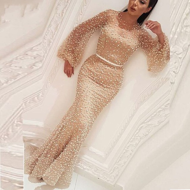Luxury Muslim Long Sleeve O Neck Pearls   Evening     Dresses   2019 Floor Length Mermaid Arabic Dubai   Evening   Gowns For Women