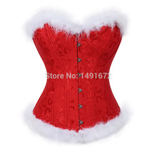 Womens Christmas Santa Costume Sexy Corset Bustier Lingerie Top White Feathers Corselet Overbust Plus Size Sexy Red Burlesque