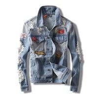 ABOORUN Hi Street Mens Fashion Denim Jackets Broken Patchwork Slim fit Jeans Coat Spring Autumn Streetwear Coat for Male x1345