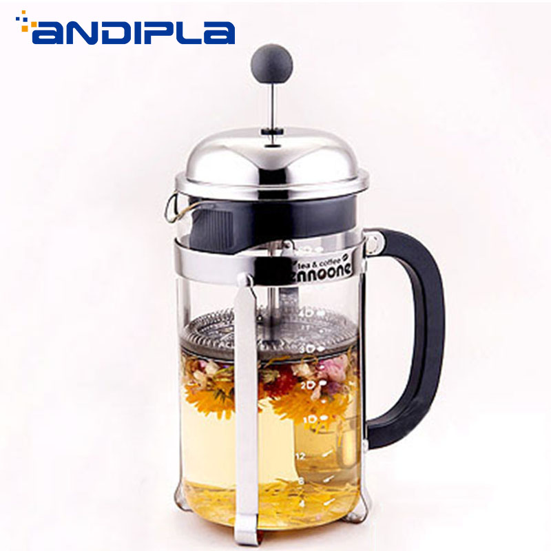350ml|800ml|1200ml Heat Resistant Glass Flower Teapot French Presses Coffee Pot Stainless Steel Filter Coffee Maker Cafe Tools
