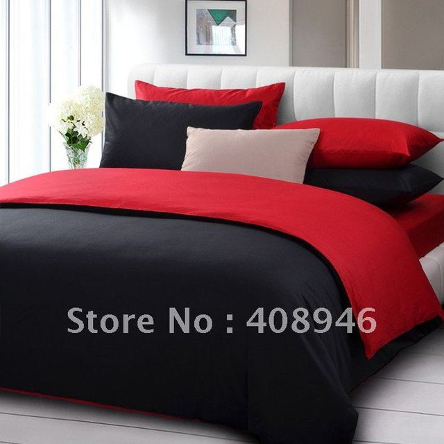 Fedex free shipping ! wholesale- 40s 100% Sateen cotton red+black  color luxury bedding set / 4pcs duvet cover/baby bedding set