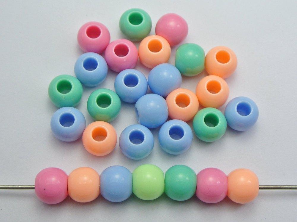 100 Mixed Pastel Color Acrylic Skull Head Pony Beads for Kids Kandi Craft