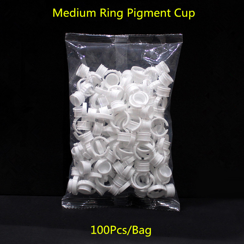 100 Stücke Kunststoff Tattoo Ink Holder Ringe Für Augenbraue Lippen Permanent Make-Up Medium Größe Tattoo Pigment Container Ring Pigment Cup