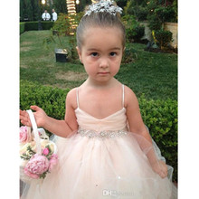 Wedding Party Bow Crystal Flower Girl Dresses Spaghetti Strap Ball Gown Beaded Pageant Dress 2017 Garden Ruffles Covered Button