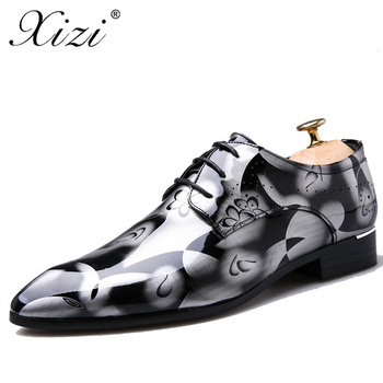 XIZI Men Dress Italian Formal shoes Lace-Up Fashion Men Leather Moccasin Glitter Male Pointed Toe Shoes For Men big size 38-50