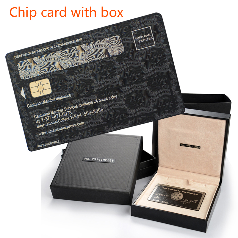 With Box, American Express Express The Centurion Black Card Metal Chip Card Custom Gift Free Shipping(China)