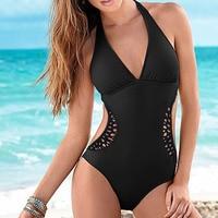 2016 Womens Vintage Bathing Suit Swimwear Deep V Hollow Out One Piece Monokini Beach Wear Swimsuit