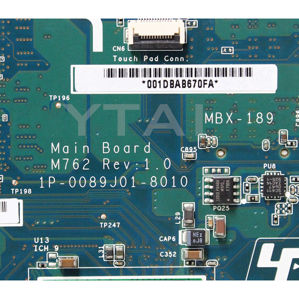 YTAI M762 MBX-189 For Sony VAIO M762 MBX-189 laptop motherboard A1568975C REV1.0 1P-0089J01-8010 PM45 DDR3 mainboard 100% tested a1843425a motherboard for sony vaio vpcel2 vpcel22fx laptop motherboard 48 4ms01 011 mbx 252 e450 cpu ddr3