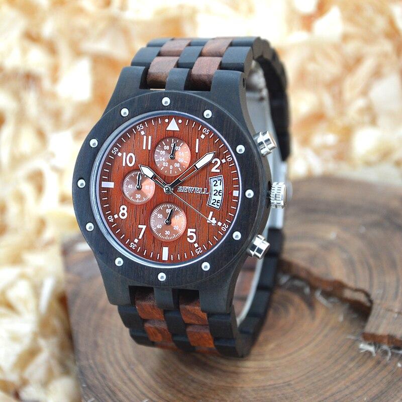 BeWell mens relojes Top marca de lujo de madera reloj hombres deporte reloj cronógrafo analógico digital hombres relojes Dropship proveedor 109d