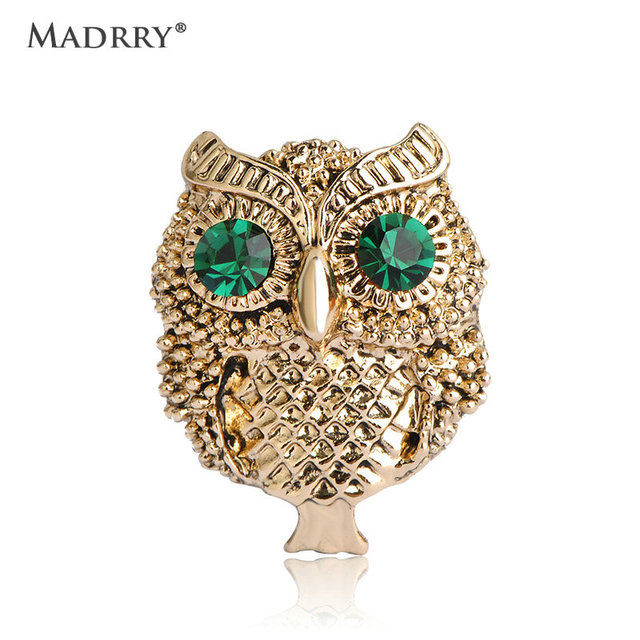 Madrry Vintage Cool Owl Brooches Green Rhinestone Eyes Scarf Clips Hijab Pins Up Accessories Retro Jewelry Bijoux Joias Ouro
