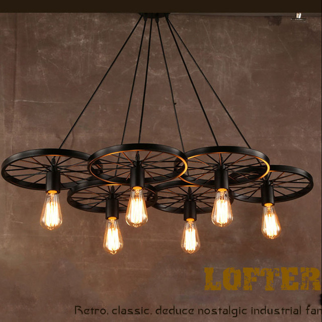 Wheel design wrought iron pendant lamps lights vintage industrial lighting loft wheel lamp bar lighs 1