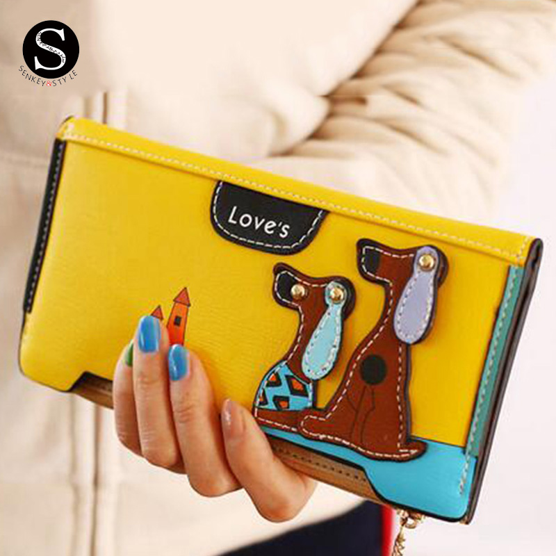 Senkey Style Womens Wallets And Purses Leather Zipper Cartoon Dog Famous Long Money Clip Clutch Wallet Women Luxury Brand Ladies pu leather wallet men luxury famous brand designer coffee money clip open clamp clip carteira magica bid083 pm49