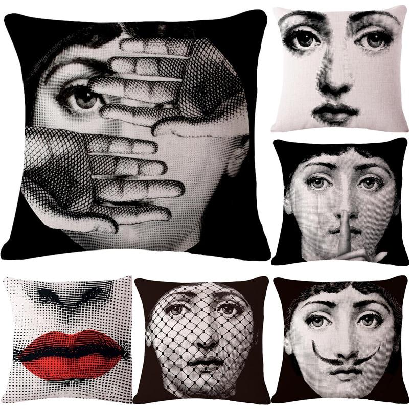 Decorative throw pillows case Cute Cartoon fornasetti face cushion cover for sofa home decor almofadas pillowcase in stock