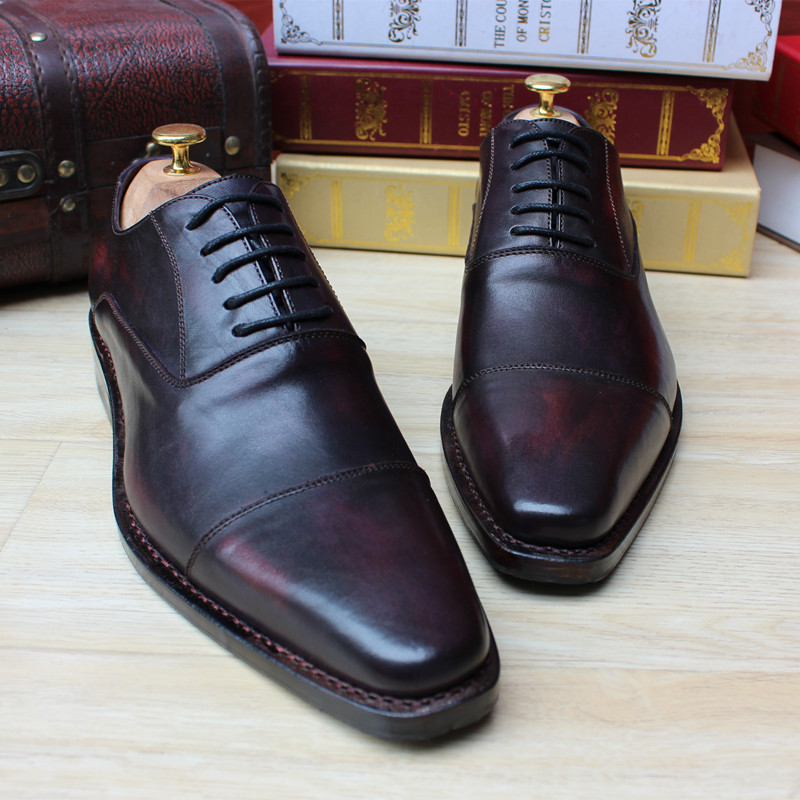 Luxury Custom Mens Goodyear Welted Shoes Navy Purple Wine Red Mens Oxfords Dress Shoes Square Toe Grooms Wedding Shoes Boss Flat luxury bespoke goodyear welted shoes elegant mens dress shoes italian unique boss wingtips shoes italian grooms wedding shoes