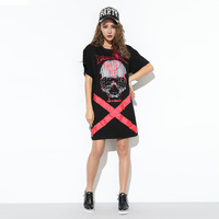 Imisha 2017 Fashion O Neck Plus Size Cool Loose Cotton Skull And Rivet Priting Patchwork Summer