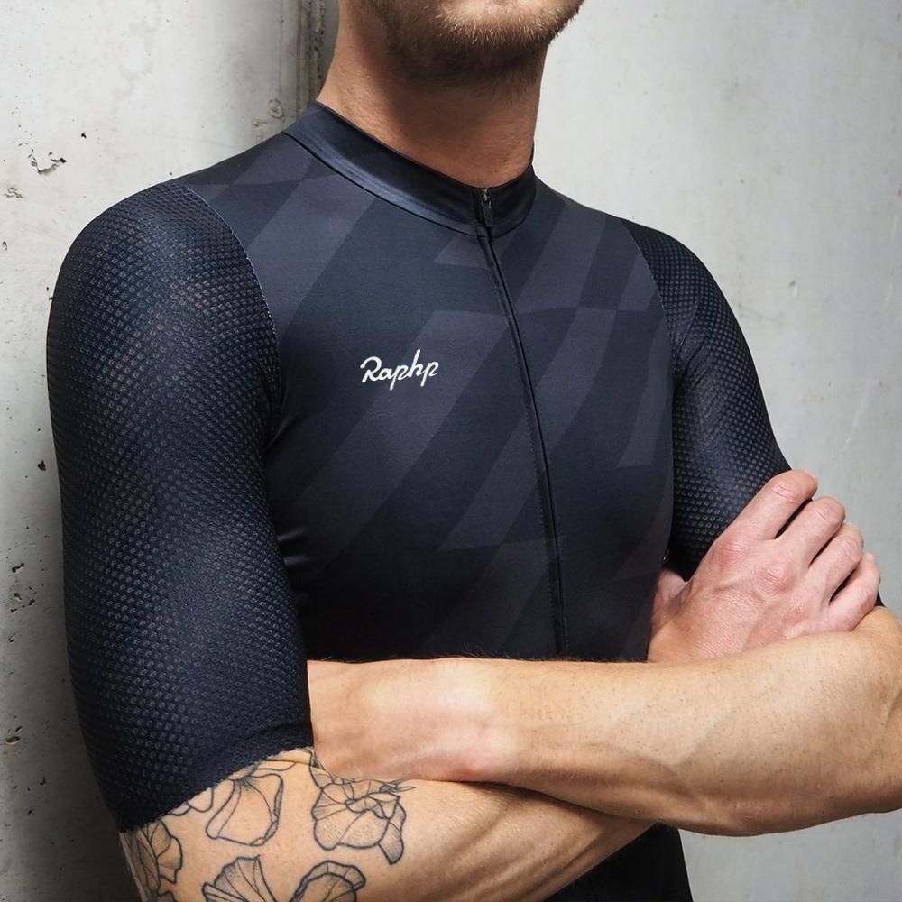 RCC Raphp Top qualité noir Top qualité à manches courtes cyclisme jersey pro équipe aero coupe avec le plus récent processus sans couture route vtt