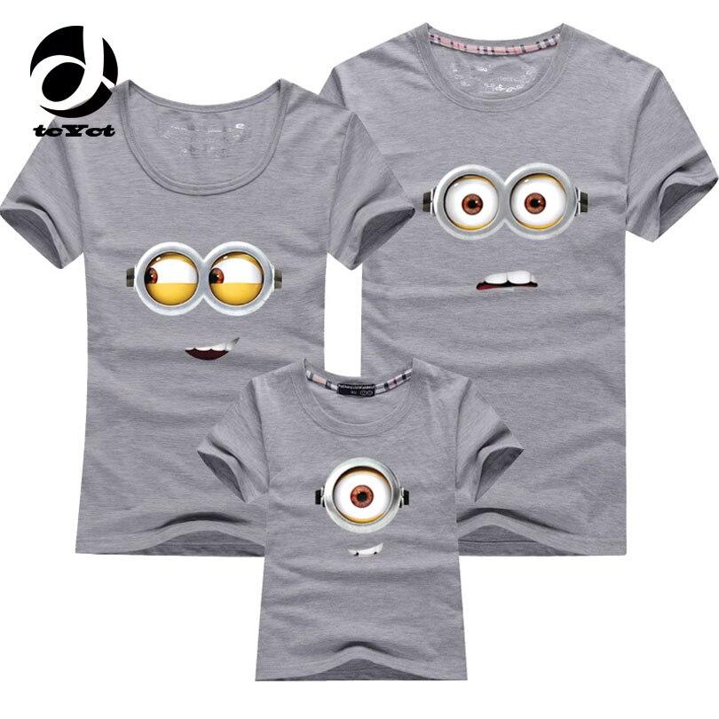 1PCS Cotton Family Matching Outfits Minions T Shirts font b mother b font font b b