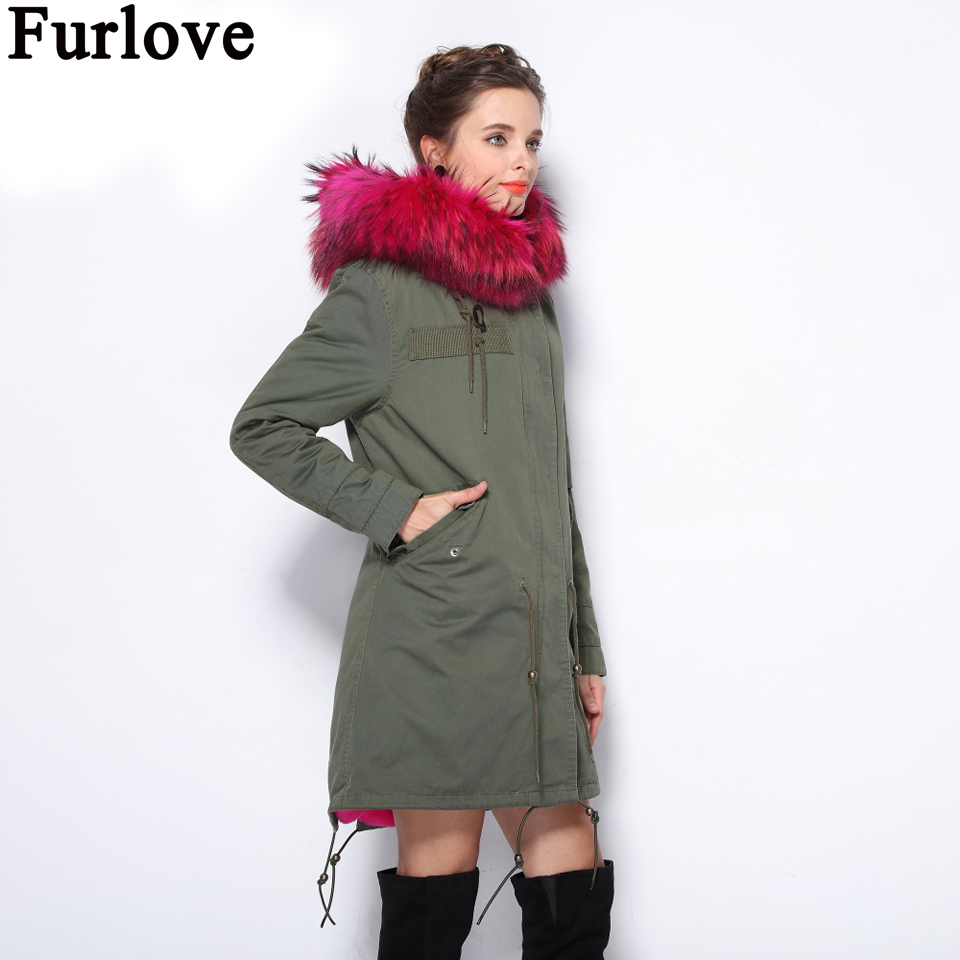 Furlove 2017 new long Camouflage winter jacket coat women parka natural large Raccoon Dog Fur Collar hooded Thick Warm faux Fur 2017 winter new clothes to overcome the coat of women in the long reed rabbit hair fur fur coat fox raccoon fur collar
