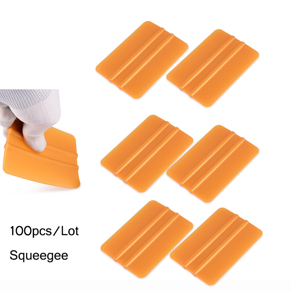 EHDIS 100pcs Gold plastic Squeegee scraper Soft Vinyl Car Wrap Tools Window tint Tool car tinting