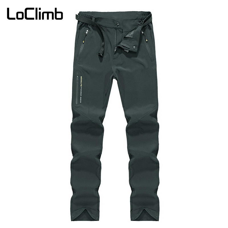 LoClimb Men's Summer Stretch Trekking Pants Outdoor Quick Dry Sports Trousers For Men Nature Climbing Camping Hiking Pants AM229