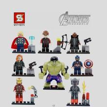 Super Hero Avengers Minifigures  Iron Man Captain America Thor Hulk Black Widow Hawkeye Ultron Building Block Toys original box