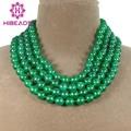Moda 4 Filas de Jade Verde Joyería Popular Natural Ronda Jade Collar Del Partido Nuevo Precio de Fábrica GS147