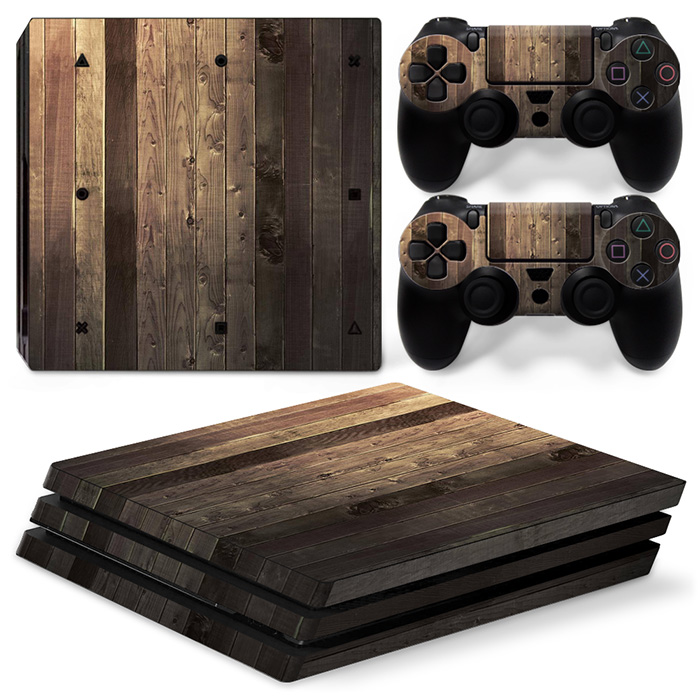 Old For PS4 Pro Skin Sticker For Sony Playstation 4 Pro Console and 2Pcs Controller Skins Wooden free shipping