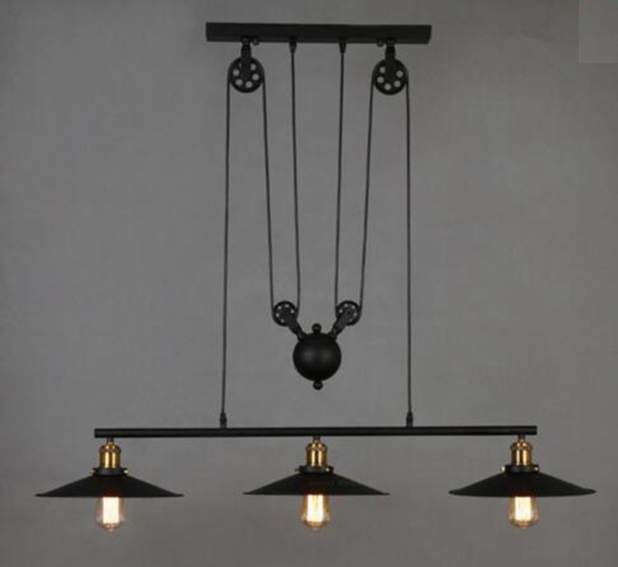 DHL/EMS/SPSR Loft Vintage Adjustable Pulley Pendant Lamps Chandeliers E27 Home Retro Industrial Wrought Iron Light Lamps Fixture dhl ems 1pc axiomtek hongda industrial control board sbc 845gv