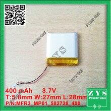 1 unids. batería de li-ion 3.7 v 400 mAh batería recargable 3.7 v 400 mah tamaño: 5.8x27x28mm