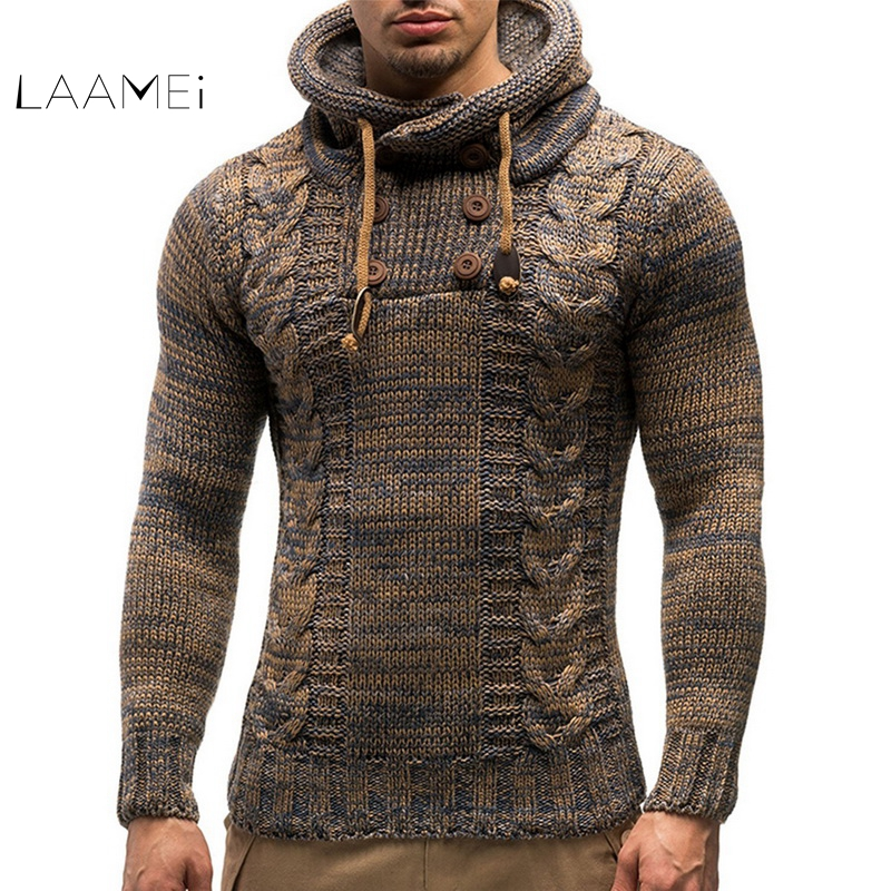 Laamei Men's Sweater Autumn Winter Pullovers Knitted Jumpers Coat Hooded Sweaters Jacket Outwear Casual Slim  Turtleneck Top(China)