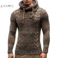 Laamei мужской свитер осень зима пуловеры вязаное пальто-джемпер свитера с капюшоном Куртка Верхняя одежда Повседневная приталенная Водолазк...