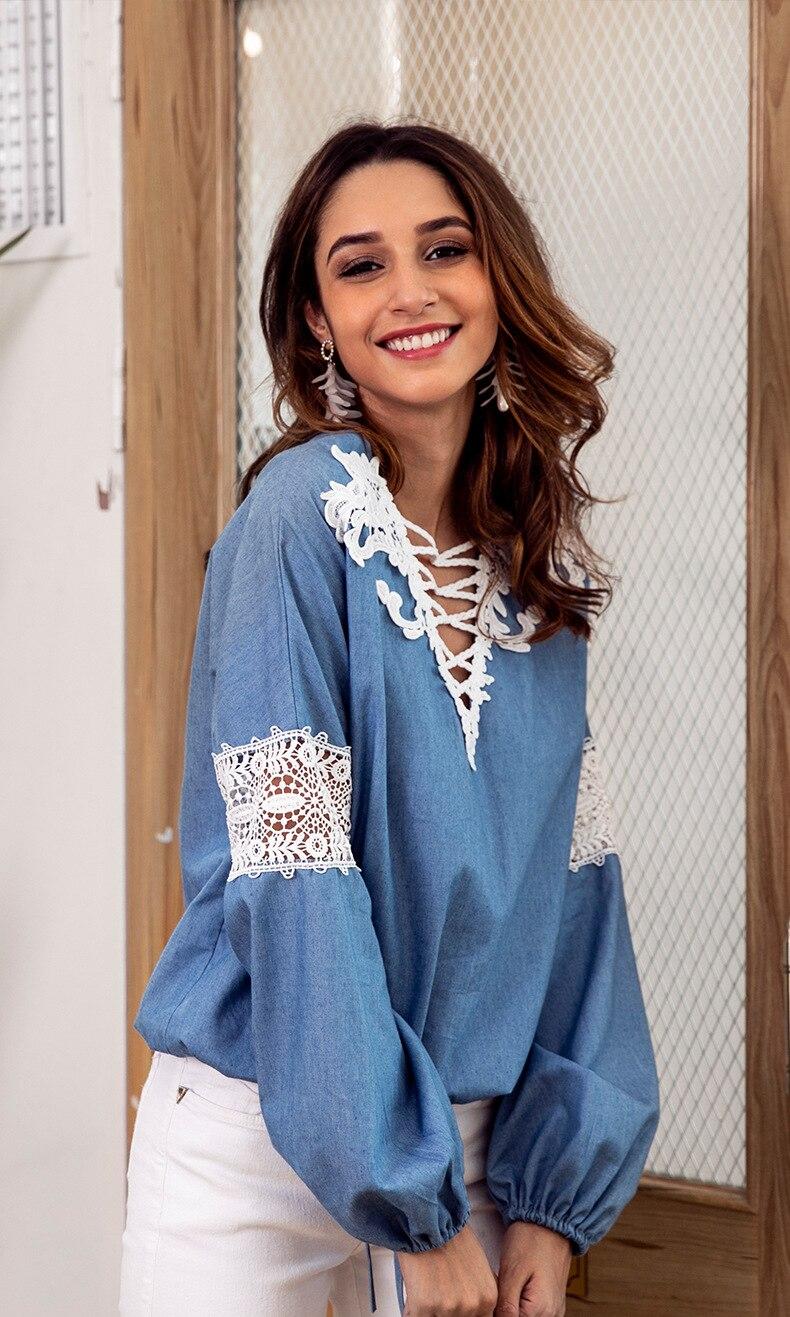 Corea cuello Regular Tamaño V Camisa América Más Punto Europa Nueva Larga 2018 Poliéster Manga Azul Y Limited Blusa Otoño Completo De rgr1f6
