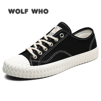 WOLF WHO Fashion New Low Top Casual Men Canavs Shoes Adults Tenis Platform Shoes Lace up Male Espadrilles Sapato Masculino X-087