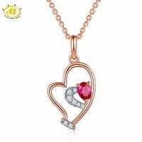 Hutang Solid 18K White Rose Natural Gemstone Ruby Diamonds Tiny Heart Pendant Necklace For Women Diamond