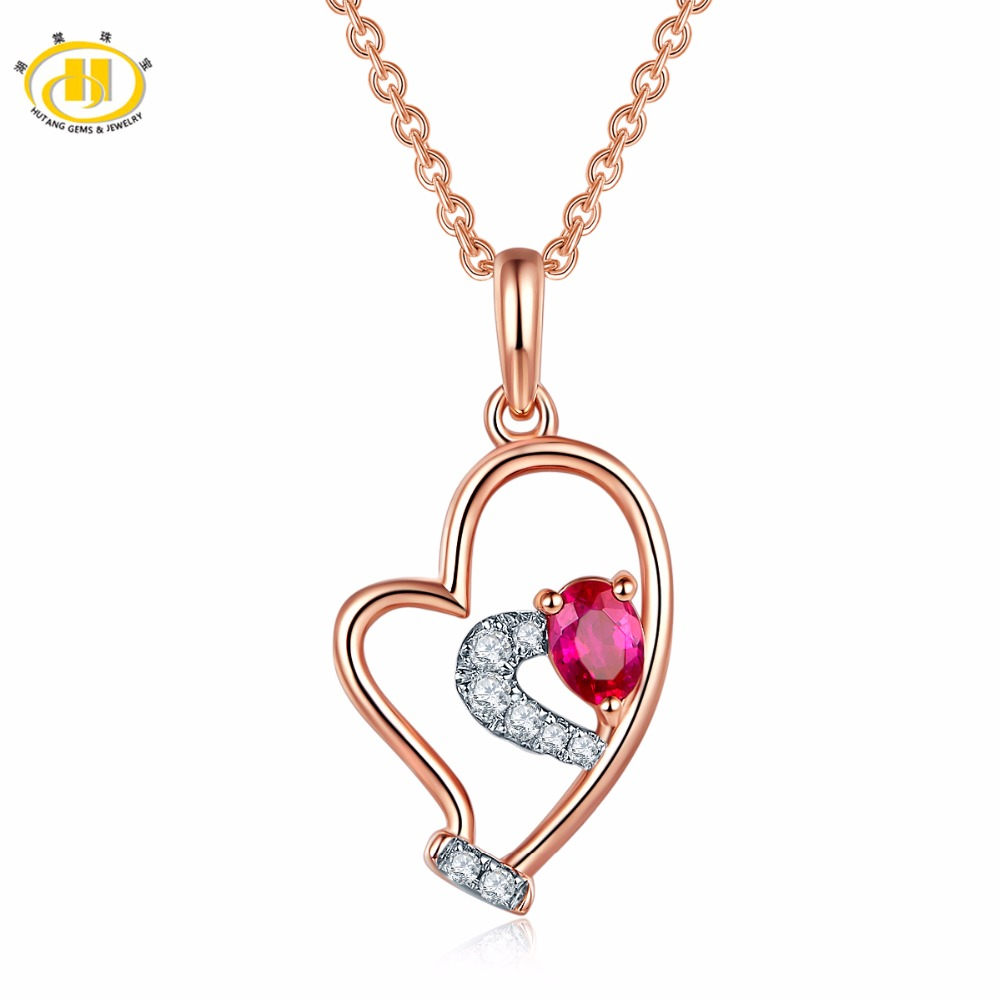 цена на Hutang Rose Gold Pendant Natural Gemstone Ruby Diamonds Solid 18K 750 Tiny Heart For Women Diamond-Jewelry Best Sell For Gift