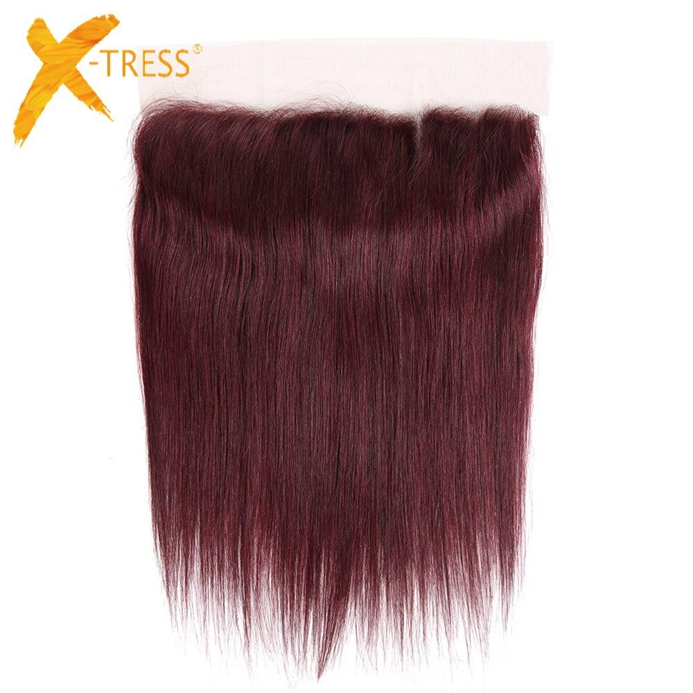 Cheveux humains 13X4 dentelle frontale avec bébé cheveux X-TRESS 99J couleur rouge droite brésilienne Non-Remy cheveux dentelle fermeture milieu/pièce gratuite
